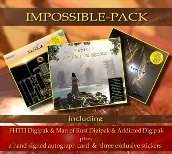 **** IMPOSSIBLE PACK **** ******* FHTTI Digipak ****** + ADDICTED Digipak ******* + MAN OF RUST Digipak *** + Signed Autograph Card * + 3 Exclusive Stickers *****