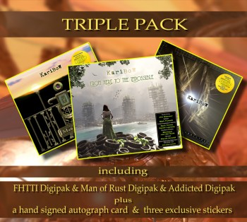 ****** TRIPLE PACK ****** ******* FHTTI Digipak ****** + ADDICTED Digipak ******* + MAN OF RUST Digipak *** + Signed Autograph Card * + 3 Exclusive Stickers *****