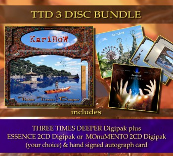 ** TTD 3 Disc Bundle ** THREE TIMES DEEPER (CD) + 2CD Album (your choice) + Signed autograph card **
