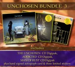 * UNCHOSEN BUNDLE 3 * THE UNCHOSEN Digipak *** + ADDICTED Digipak ******* + MAN OF RUST Digipak *** + Signed Autograph Card * + 3 Exclusive Stickers *****